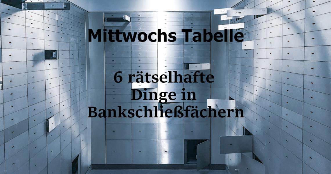 In dieser Tabelle findet ihr 6 rätselhafte Dinge, die eure SC in einem Bankschließfach finden können